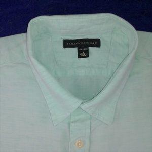 BANANA REPUBLICmint green linen blend shirt size L